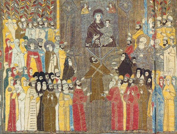 Фрагмент пелены «Церковная процессия», 1498 г. В левом нижнем углу изображена Софья Палеолог