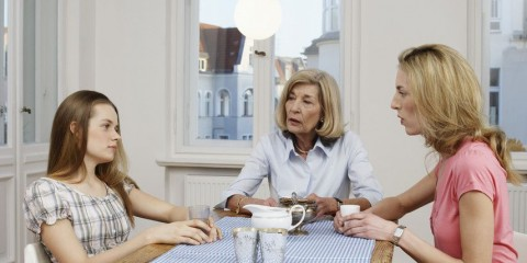 Teenage Girl Talking to Mother and Grandmother