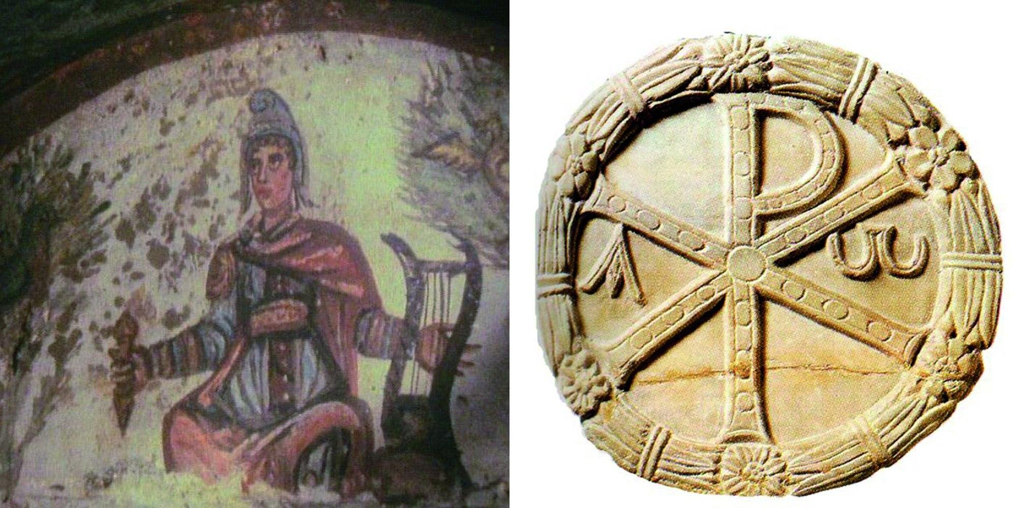 Слева. Изображение Христа в виде Орфея. I век. Справа. Лабарум. Катакомбы Прискиллы.