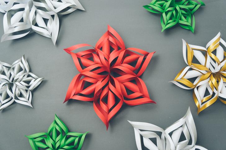 3d снежинки из бумаги как сделать