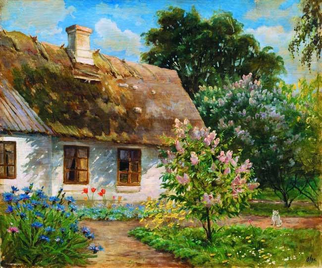 Станичный пейзаж. Картина Ольги Куликовской-Романовой