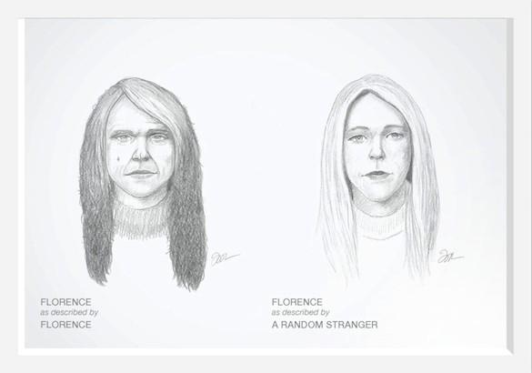 Слева портрет Флорэнс по ее собственному описанию себя, а справа – по описанию, которое дал ей человек со стороны.