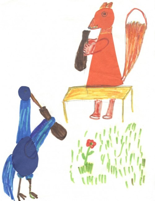 Рисуем Лису и Журавля, или Друг познаётся в еде