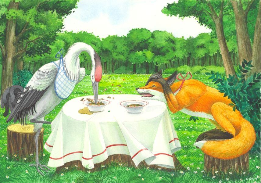 Картинки или рисунки сказки лиса и журавль