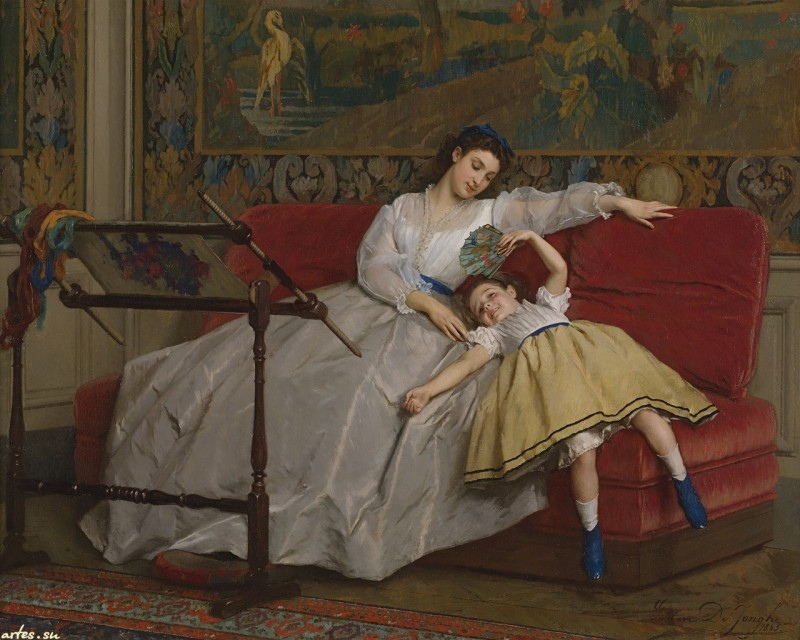 Gustave Leonard de Jonghe. Mother With Her Young Daughter