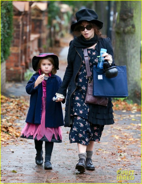 Exclusive - Helena Bonham Carter Takes Her Daughter Nell Out For Halloween