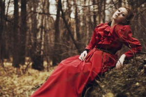 girl-red-dress-forest-fall-1680x1050