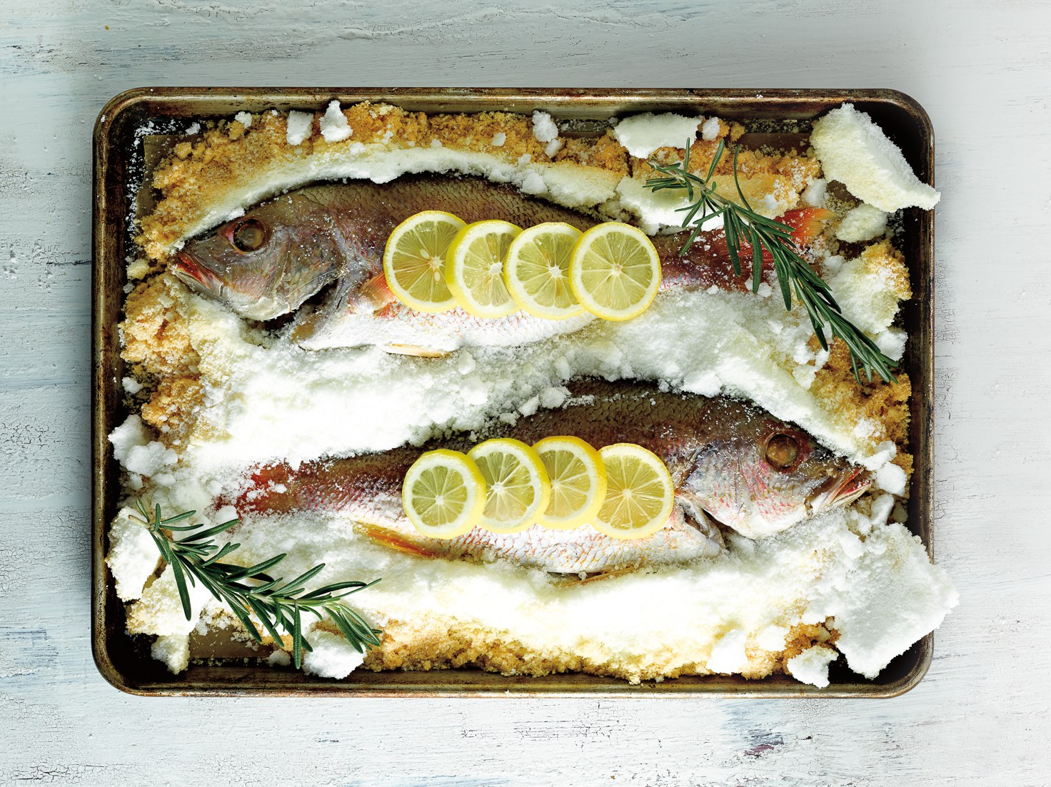 Salt crusted red snapper for a recipe in The Insatiable Lens Food and Photography Magazine.