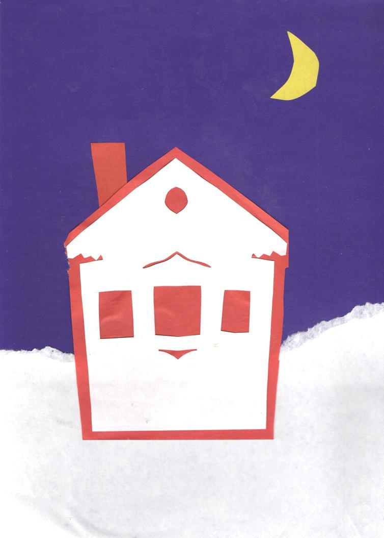 Рисуем зимний домик, или Какое чудо приносит счастье