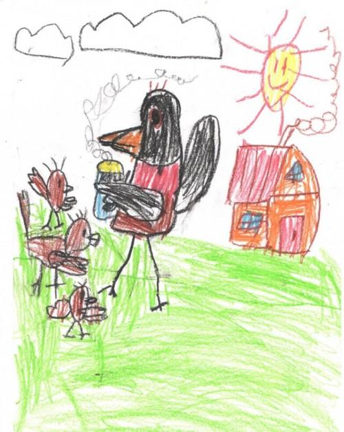 Рисуем Сороку-ворону, или Почему воронёнок не хотел идти за водой
