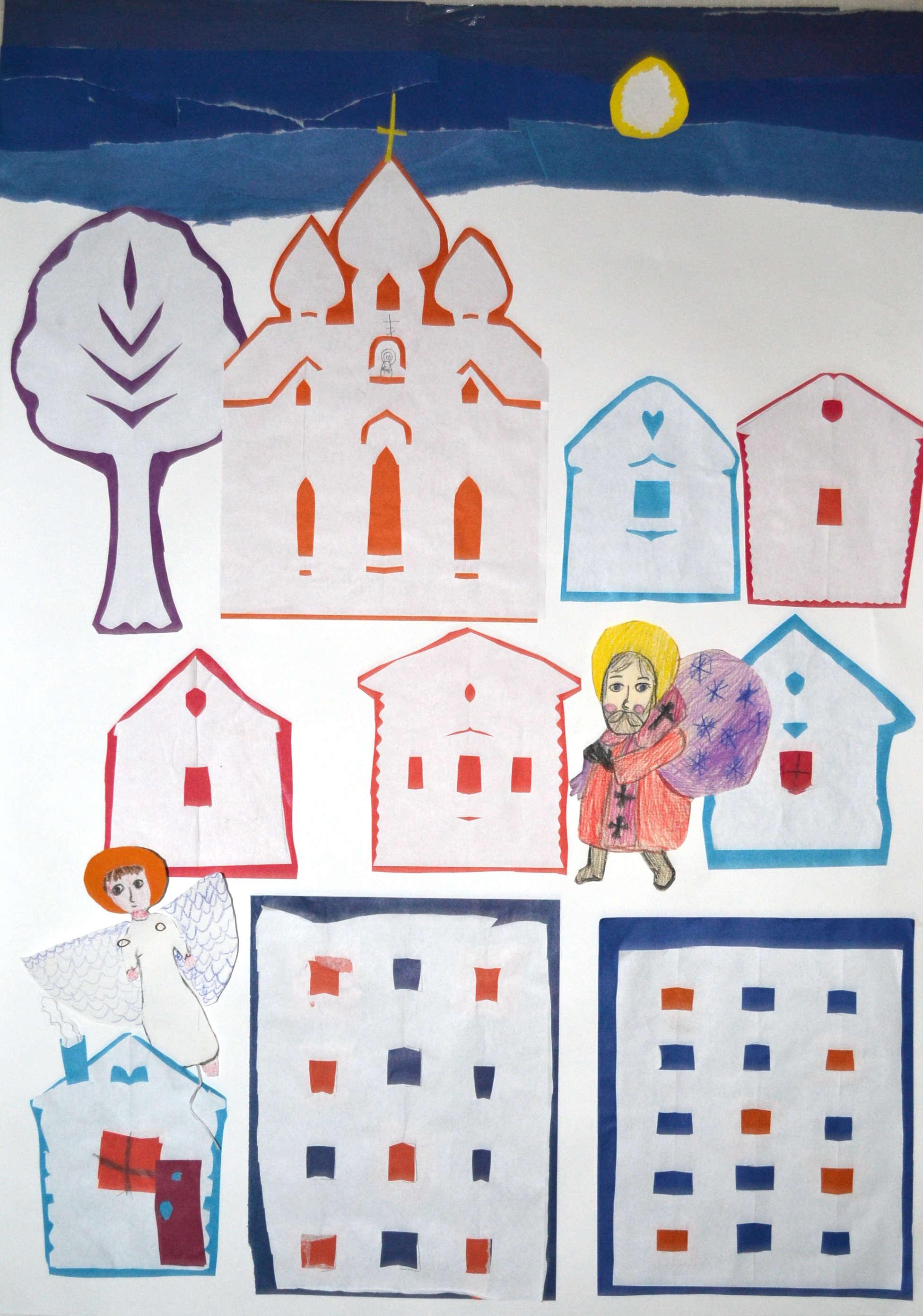 Рисуем праздничный город, или О том, как в Вифлееме буря перевесила все вывески