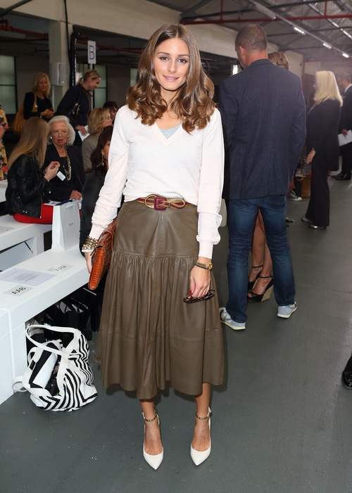 LONDON, ENGLAND - SEPTEMBER 17: Olivia Palermo attends the front row for the Antonio Berardi show on day 4 of London Fashion Week Spring/Summer 2013, at Brewer Street Car Park on September 17, 2012 in London, England. (Photo by Mike Marsland/WireImage)