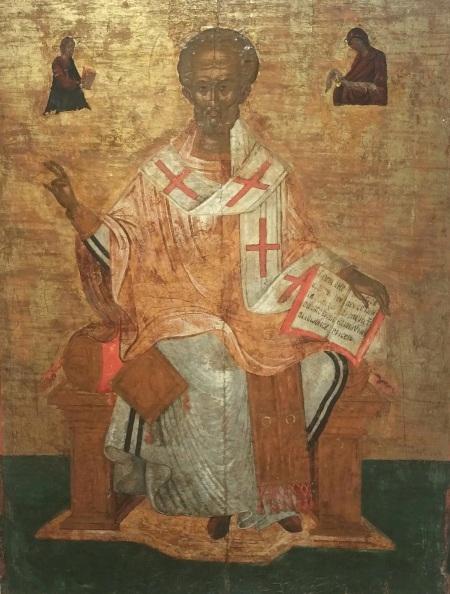 Святитель Николай, архиепископ Мирликийский, на троне. Около 1500 года.