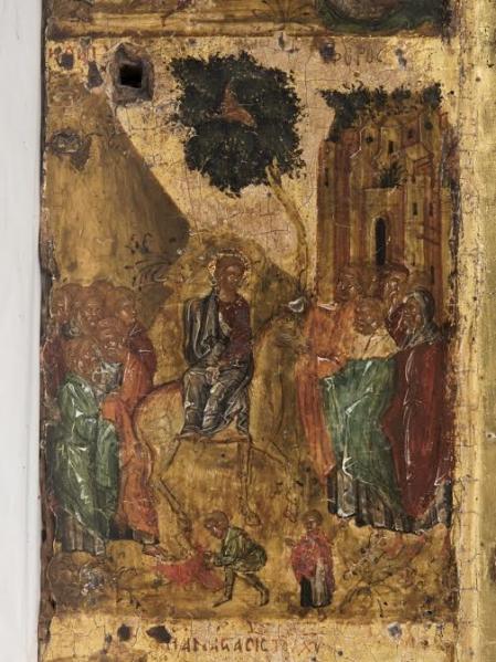 Вход в Иерусалим. Клеймо иконы Богоматерь Одигитрия, с двунадесятыми праздниками.