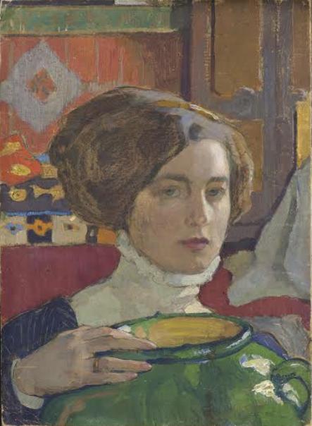 Художница с зеленой вазой. 1910.