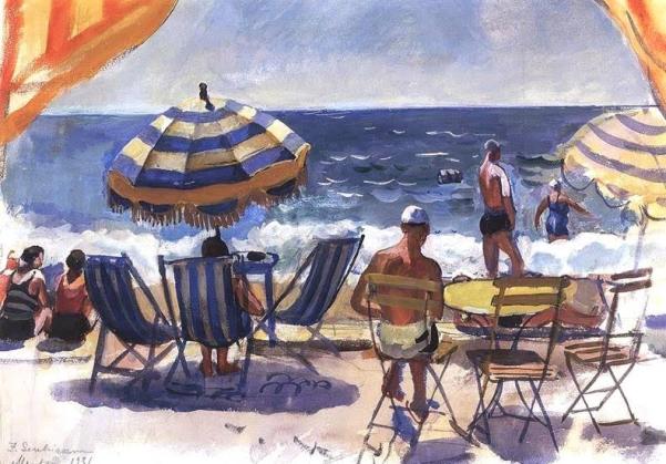 Ментона. Пляж с зонтиками. 1931.