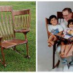 Отец смастерил необычный стул, чтобы читать сразу троим детям
