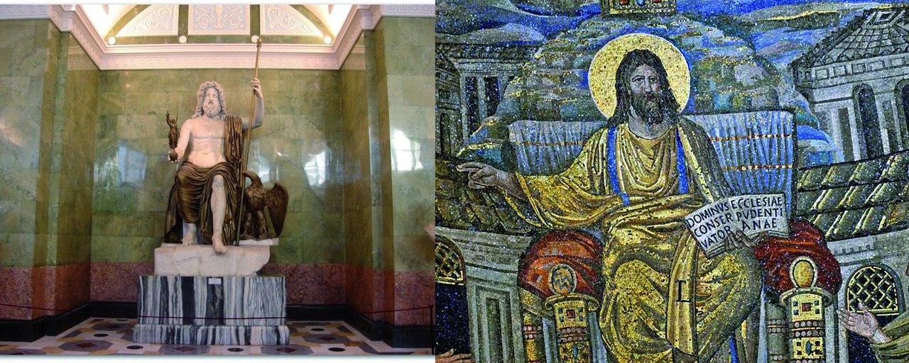 .Слева. Фидий. Зевс Олимпийский. 432 г. до н.э. Мраморная римская копия. Справа. Христос Вседержитель. Санта-Пуденциана. IV век.