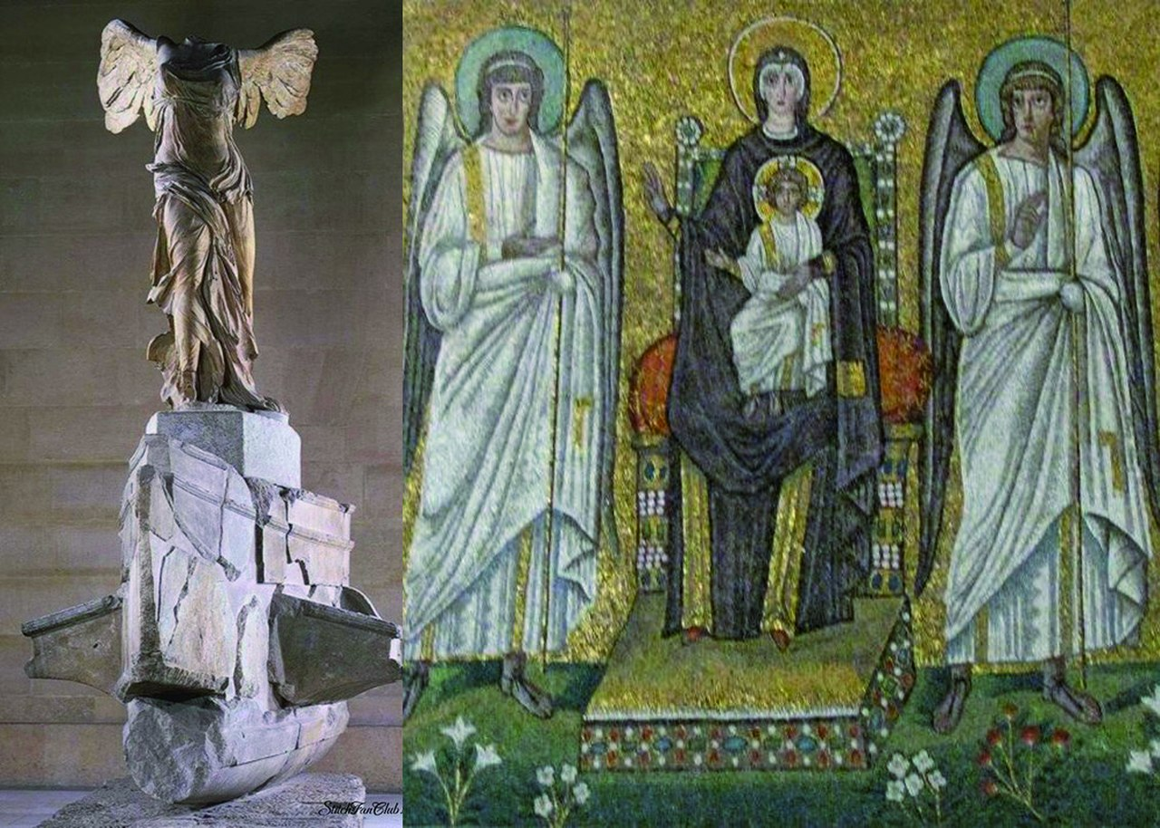 Слева. Ника Самофракийская. II в. до н.э. Справа Богоматерь с ангелами. Базилика Сан-Апполинаре Нуово в Риме. Начало VI века.