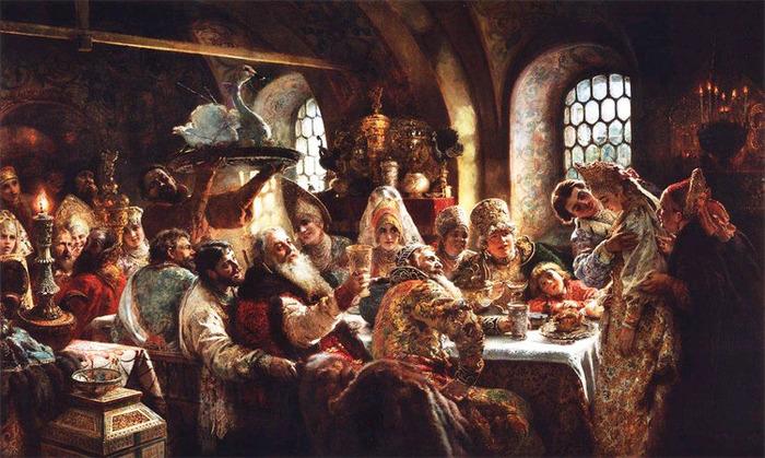 Боярский свадебный пир в XVII веке. К. Е. Маковский, 1883 г.
