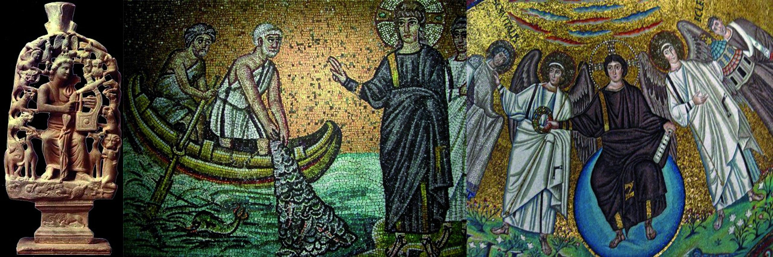 Слева. Изображение Христа в виде Орфея. I век. В центре. Христос и апостолы, ловящие рыбу. Сан-Апполинаре Нуово. VI век. Справа. Христос в виде юноши на сфере с ангелами. Базилика Сан-Витале VI век.