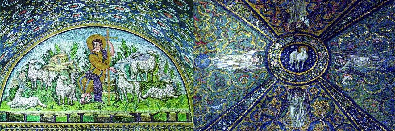 Слева Пастырь добрый. Первая половина V в. Мавзолей Галлы Плацидии. Равенна. Италия. Мозаика. Справа.  Христос в виде агнца и ангелы. Базилика Сан-Витале. VI век.