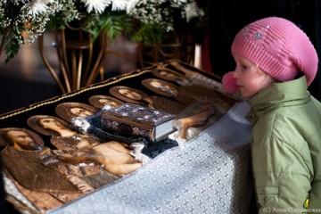 Девочка рассматривает Плащаницу