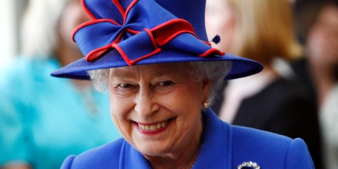 Britain's Queen Elizabeth II smiles during a visit to open the Sainsbury Laboratory for Plant Sciences in the University of Cambridge Botanic Garden, in Cambridge, England