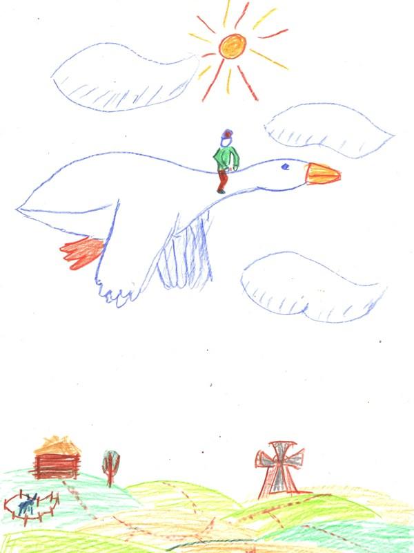 Детские рисунки к нильса и диким гусями