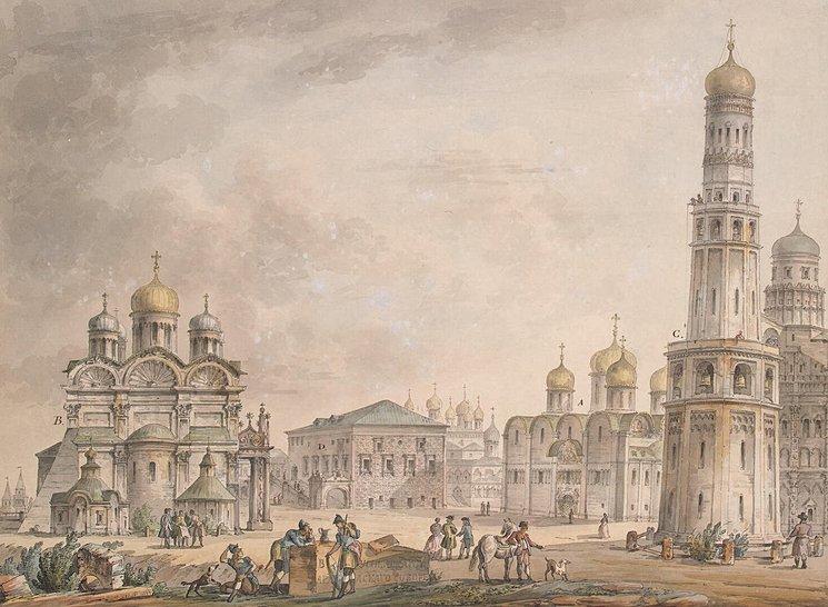 Соборная площадь Московского Кремля. Акварель Д. Кваренги. 1797