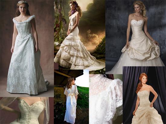 Не только платья расшиты цветами, но и туфли, сумочки и лифы платья. Викторианский стиль с его корсетами, высокими воротниками и кружевами покорил свадебную